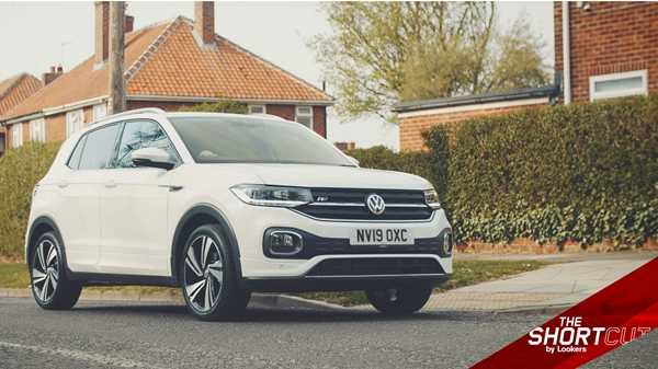 A Pure White VW T-Cross at the roadside