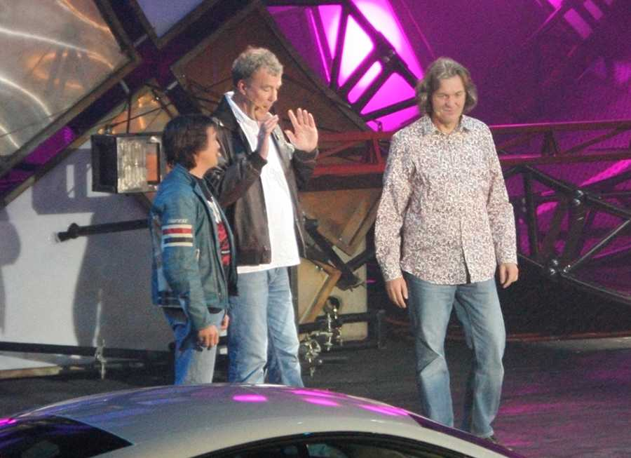 Richard Hammond, Jeremy Clarkson and James May presenting Top Gear (L-R)
