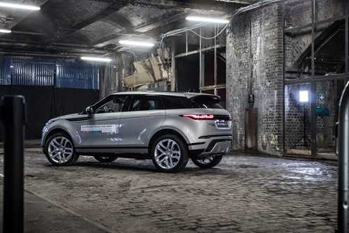 A silver Range Rover Evoque, used in the manufacturer's demo event for the new model
