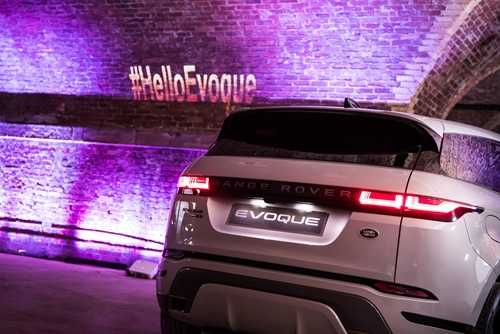The new Range Rover Evoque beneath an illuminated tunnel during the demo event